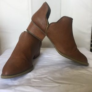 Shoes - Brown Vegn Leather booties